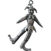 Vintage Sterling Mechanical Court Jester Pendant Charm, Articulated