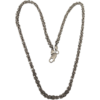"Vintage Italian Sterling Byzantine Link 19-3/4"" Chain Necklace"