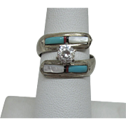 Signed NA Sterling Inlaid Turquoise MOP Bold Bypass Ring, Size 5-1/2