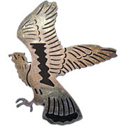 FINAL CLEARANCE  Signed Taxco Sterling and Enamel Eagle Large Brooch, 15.4 Grams
