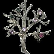 Vintage Sterling and Rhinestone Tree of Life Brooch