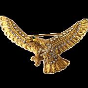 Vintage Large, Dimensional Eagle Goldtone and Rhinestone Brooch