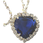 "FINAL CLEARANCE   Signed W Lind Sapphire Rhinestone Titanic Heart 19"" Necklace"