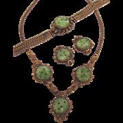 Exquisite Vintage Czech Carved Glass Jade Parure - Lavaliere Necklace, Bracelet and Clip Earrings