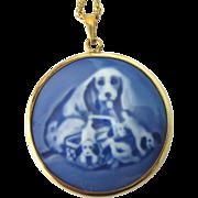 "Signed 1969 B&G Cocker Spaniel Porcelain GF Pendant With GF 15-1/2"" Chain"