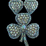 Dazzling Blue AB Rhinestone Shamrock Brooch and Clip Back Earrings