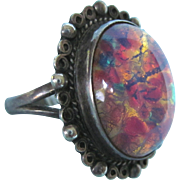 Vintage Sterling Mexican Opal Art Glass Size Signed Ring, Size 8-1/2