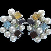 Chunky Sterling, Cultured Pearl and Gemstone Omega Pierced Back Earrings