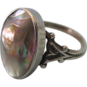 Art Deco Sterling and Blister Pearl Ring, Size 7-1/2