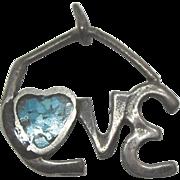 Vintage Sterling Turquoise LOVE Charm Pendant
