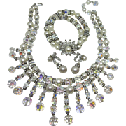 Exquisite Crystal, Rhinestone, Pearl Drippy Necklace, Bracelet and Earring Parure Set