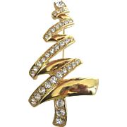 Extra Large Signed Monet Modernist Christmas Tree Pin, Goldtone With Rhinestones, Book Piece