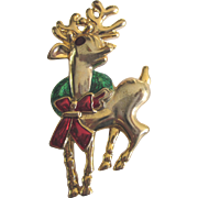 Vintage Monet Rheindeer Brooch, Enamel and Rhinestone - Christmas, Holiday