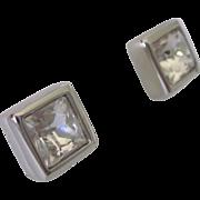 Signed Swarovski Square Simulated Diamond Stud Pierced Earrings, Silverplated