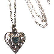 """Vintage Sterling Ornate Heart Pendant Necklace With 16-1/2"""" Paperclip Sterling Chain"""