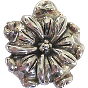 Vintage Sterling Puffy Floral Tropical Pendant