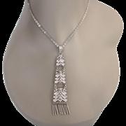 Vintage 800 Silver Filigree Sophisticated Modernist Design Pendant Necklace, Sterling Chain