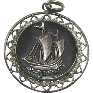 Vintage Sterling Filigree Sailing Ship Pendant