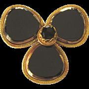 Stunning Signed Original by Robert Black Glass Goldtone Large Brooch