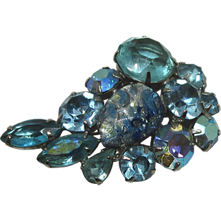 Signed Weiss Heavenly Blue Rhinestone and Fancy Stone Brooch