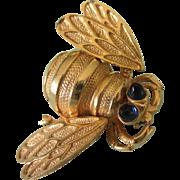Quivering or En Tremblant Large Goldtone Bee Pin