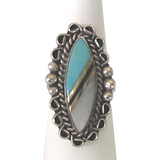 Vintage Zuni NA Large Statement Sterling Inlaid Turquoise MOP Elongated Ring, Size 7