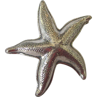 Vintage Signed Beau Sterling Starfish Brooch
