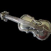 Vintage Sterling Silver Violin Brooch