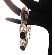 Fabulous Taxco Mexico Sterling and Onyx Bold Modernist Design Bracelet, TA-73, 59. Grams