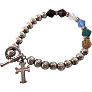 Sterling and Crystal Bead Bracelet With Cross Charm, Small Size