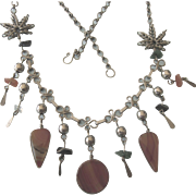 Vintage Agate Dangles and Gemstone and Wired Leaf Silvertone Necklace