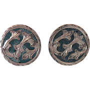 Mexican Eagle Mark Sterling  & Turquoise Pair of Cufflinks