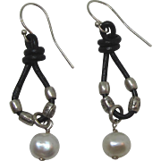 Vintage Sterling, Black Leather and Freshwater Pearl Dangle Pierced Earrings