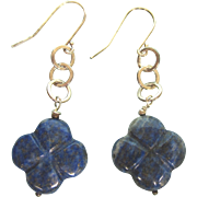 Sterling and Carved Lapis Lazuli Pierced Dangle Earrings