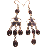 Stunning Sterling With Amethyst and Garnet Chandelier Pierced Earrings