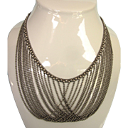 "Vintage Multistrand Draping Chains 19"" Necklace in Silvertone"