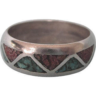 Vintage Zuni Inlaid Crushed Turquoise and Coral Band Ring, Size 10
