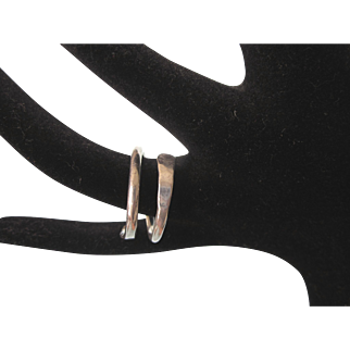 Sleek Sterling Silver Wrap Unisex Ring, Size 9-1/2