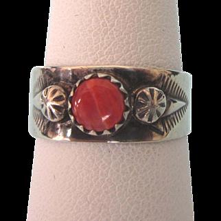 Vintage Navajo Signed Sterling Orange Spiny Oyster Ring, Size 6-1/2