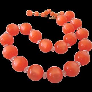 "Vintage Mid-Century Orange Bead 16"" Choker Necklace"
