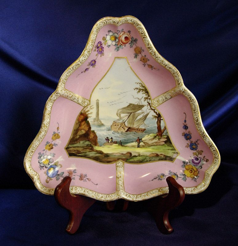 Meissen Trefoil Triangular Dish Seafaring Theme - Pink Rose Ground - early to mid 19th century