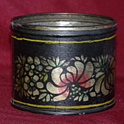 Vintage Painted Black Stencil Tole Cup - Signed