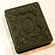 Beautiful Large Gutta Percha Case 1/4 Plate Union Case - Tintype Daguerreotype