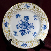 Dresden Schumann Bread and Butter Plate - Blue Roses Gold Trim