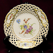 Dresden Style Reticulated Plate Signed and Dated - Hand-Painted Florals with Gold Accents