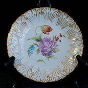 Delinieres Limoges Small Floral Plate - Roses with Gold Trim - Signed