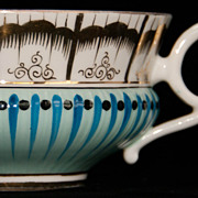 Large Hand-Painted Porcelain Breakfast Cup - Teal Stripes, Black Dots with Gold Accents