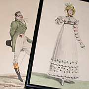 Pair of Vintage Fashion Prints in 18th Century Dress