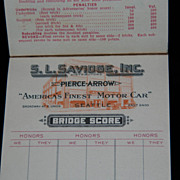 Pierce Arrow Bridge Score Pad circa 1932