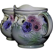 Burleigh Ware Creamer and Sugar - Florals in High Relief by Burgess and Leigh